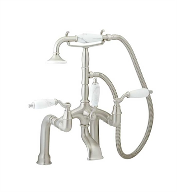 Phylrich K2394BD-079 Old Tyme Deck Mounted Tub & Shower Set With Finish: Satin Nickel with Satin Gold