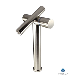 Fresca Trebia Single Hole Vessel Mount Bathroom Faucet in Brushed Nickel