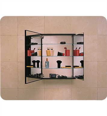 "Robern TriView-PLM2430BT PL Series 23-1/4"" x 30"" Tri-View Customizable Medicine Cabinet With Style and Color: Black Interior"