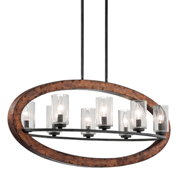 Kichler 43191AUB Grand Bank Collection Chandelier Linear 8 Light in Auburn Stained Finish