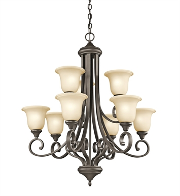 Kichler 43159OZ Monroe Collection Chandelier 9 Light in Olde Bronze