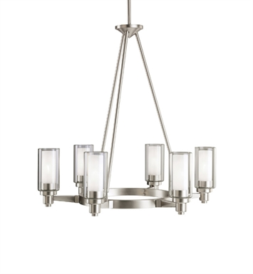 Kichler 2344NI Circolo Collection Chandelier 6 Light in Brushed Nickel