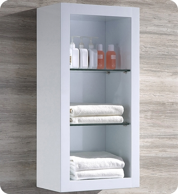 Fresca FST8130WH White Bathroom Linen Side Cabinet with 2 Glass Shelves