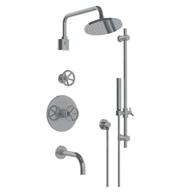 Watermark 31-3.98TO-BK-SEL Brooklyn Thermostatic Shower Set with Handshower With Finish: Satin Elite Brass (14k) <strong>(USUALLY SHIPS IN 8-9 WEEKS)</strong>