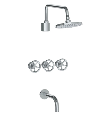 Watermark 31-3TO-BK-EL Brooklyn Three Valve Tub/Shower Set With Finish: Elite Brass (14k) <strong>(USUALLY SHIPS IN 8-9 WEEKS)</strong>