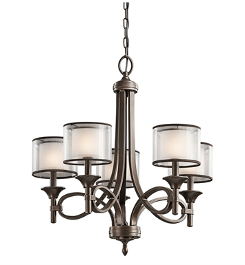 Kichler 42381MIZ Lacey Collection Chandelier 5 Light in Mission Bronze