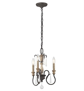Kichler 43616WZC Kimberwick 3 Light Mini Chandelier in Weathered Zinc