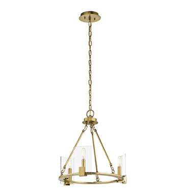Kichler 43700NBR Signata 3 Light Mini Chandelier in Natural Brass