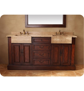 "James Martin 206-001-5525 Boston 72"" Double Sink Bathroom Vanity with Travertine Top in Cherry Finish"