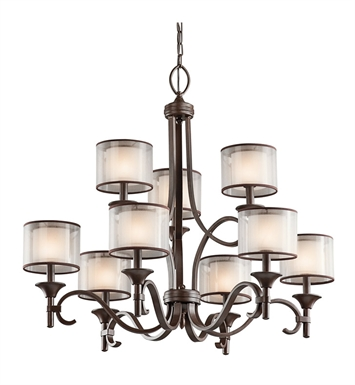 Kichler 42382MIZ Lacey Collection Chandelier 9 Light With Finish: Mission Bronze