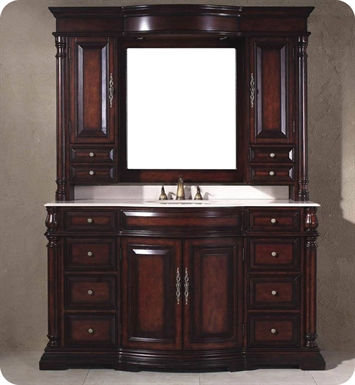 "James Martin 206-001-5122 Dover 62"" Single Sink Bathroom Vanity with Marble Top and Mirror Hutch in Dark Cherry Finish"