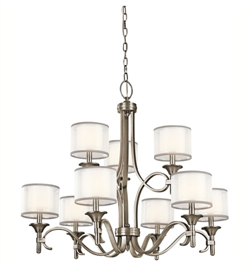 Kichler 42382AP Lacey Collection Chandelier 9 Light in Antique Pewter
