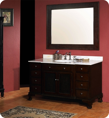 "James Martin 206-001-5148 Mason 53"" Single Sink Bathroom Vanity with Marble Top in Dark Cherry Finish"
