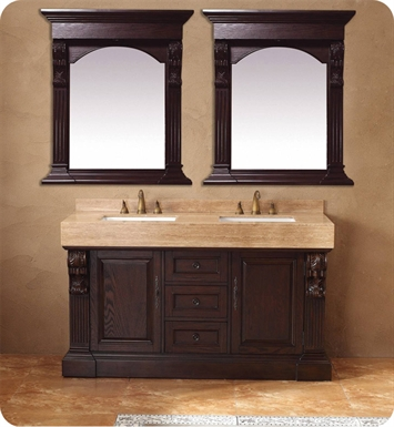 "James Martin 206-001-5514 Newport 60"" Double Sink Bathroom Vanity with Stone Top in Dark Cherry Finish"