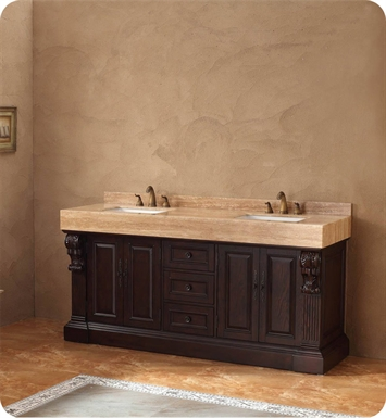 "James Martin 206-001-5515 Newport 72"" Double Sink Bathroom Vanity with Stone Top in Dark Cherry Finish"
