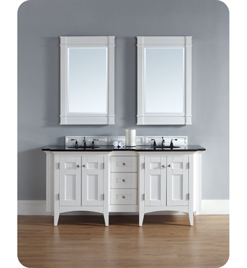 "James Martin 900-V72-PWH-ABK North Hampton 72"" Double Sink Bathroom Vanity with Black Granite Top in White Finish"