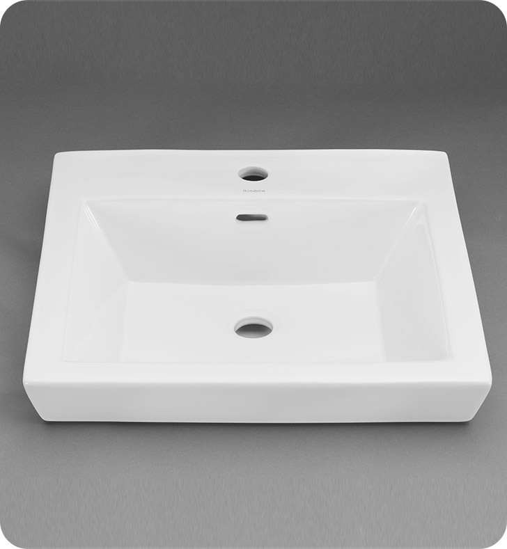 Ronbow 200480 1 Wh Square Tapered Ceramic Drop In Bathroom Sink In White