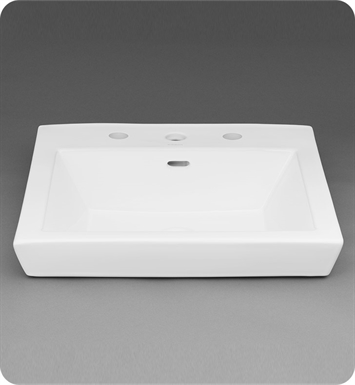 Ronbow 200480 8 Wh Square Tapered Ceramic Drop In Bathroom Sink In White
