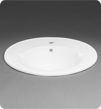 Ronbow 218023 1 Wh Leonie Oval 24 Ceramic Drop In Bathroom Sink With Single Faucet Hole In White