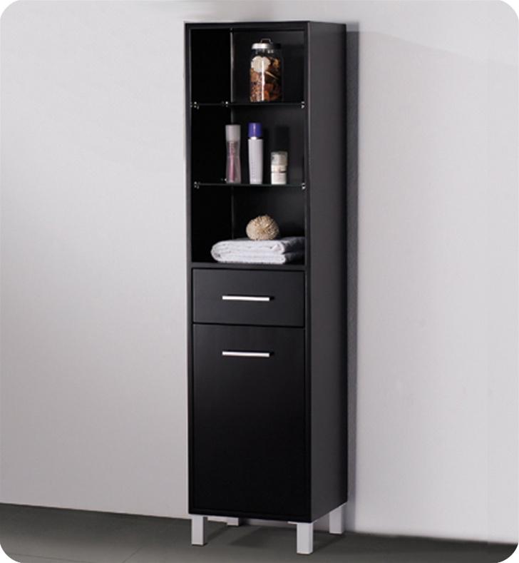 fresca fst1004es espresso bathroom linen side cabinet with 3 open shelves