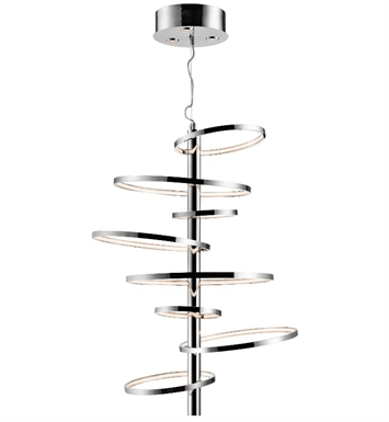 Elan Lighting 83665 Sirkus Linear Pendant in Chrome Finish with Clear Etched Acrylic Lens