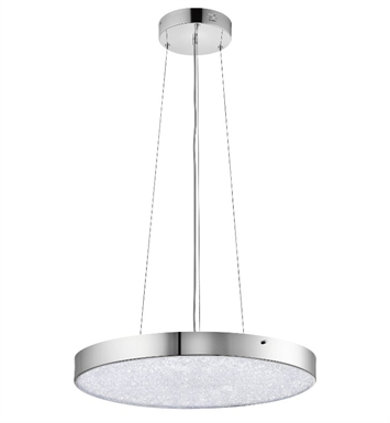 Elan Lighting 83591 Crystal Moon Pendant in Chrome Finish with Clear Cubic Zirconia Chip and Glass Diffuser