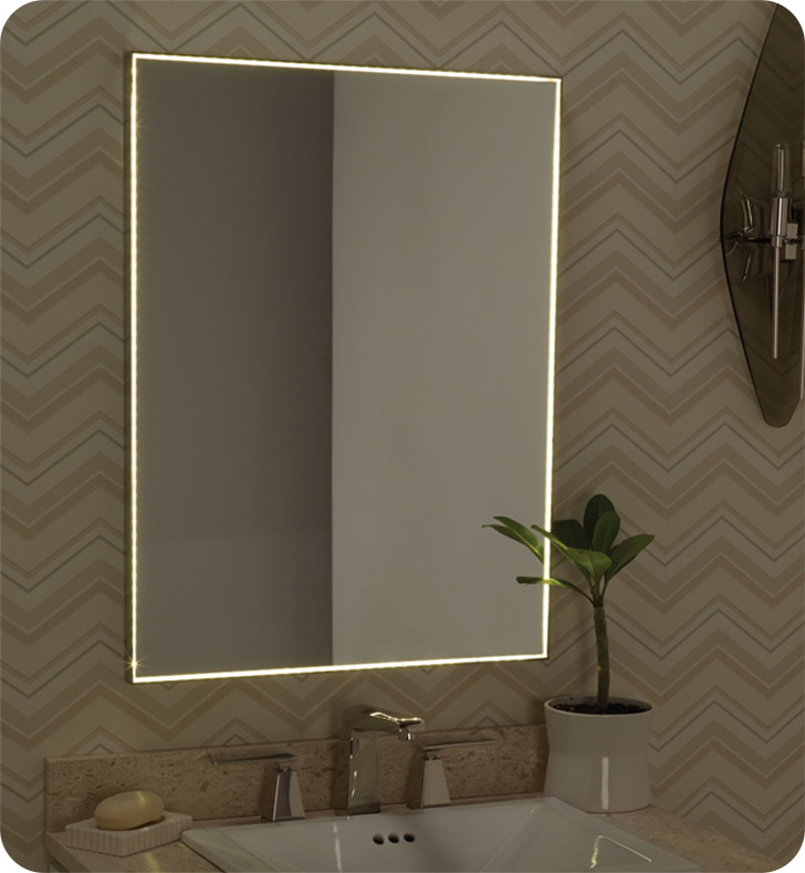 Ronbow 600823 Bn Contemporary 23x30 Metal Framed Bathroom Mirror W Led Light Border In Brushed
