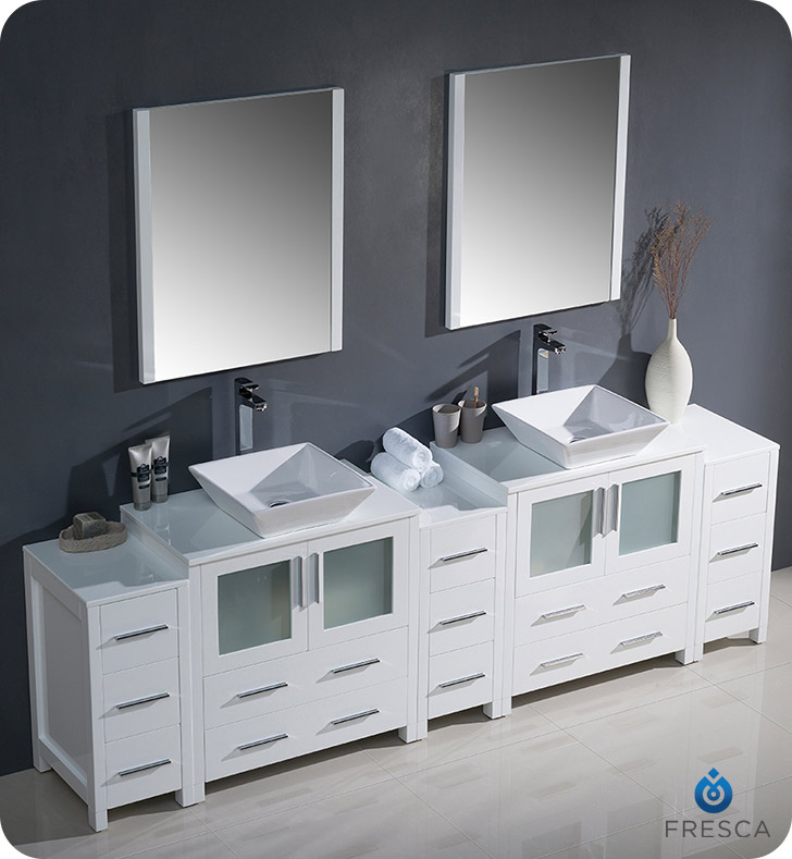 Fresca Fvn62 96wh Vsl Torino 96 Double Sink Modern Bathroom Vanity With 3 Side Cabinets And