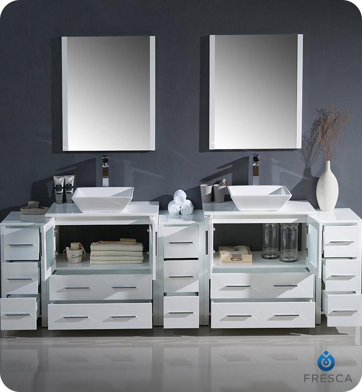 Fresca fvn62 96wh vsl torino 96 double sink modern for 96 bathroom cabinets