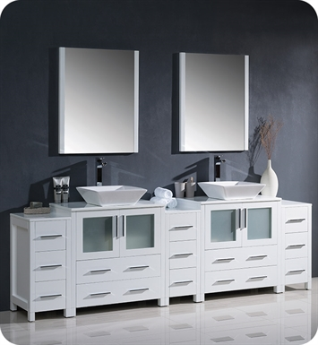 "Fresca FVN62-96WH-VSL Torino 96"" Double Sink Modern Bathroom Vanity with 3 Side Cabinets and Vessel Sinks in White"