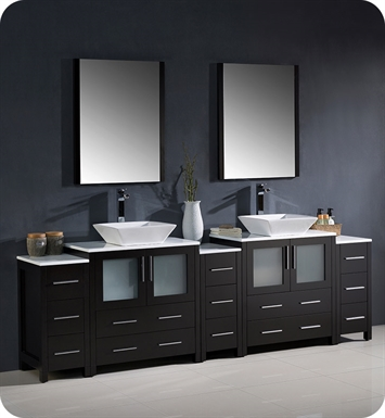 "Fresca FVN62-96ES-VSL Torino 96"" Double Sink Modern Bathroom Vanity with 3 Side Cabinets and Vessel Sinks in Espresso"