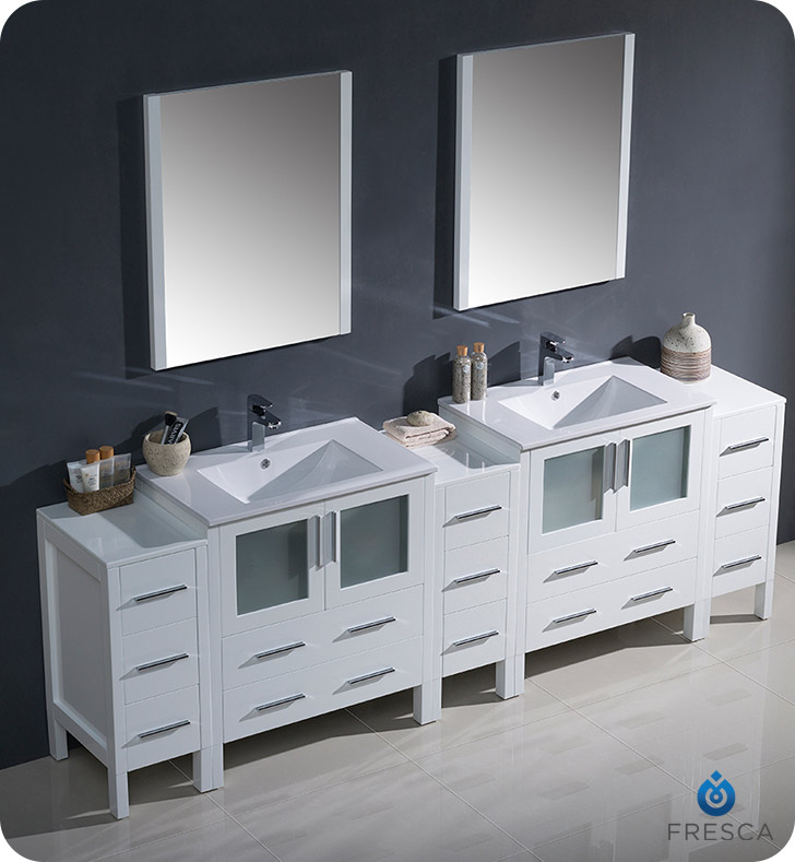 Fresca Fvn62 96wh Uns Torino 96 Double Sink Modern Bathroom Vanity With 3 Side Cabinets And