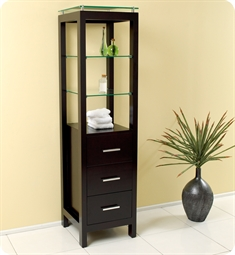 Fresca Espresso Bathroom Linen Side Cabinet with 3 Tempered Glass Shelves