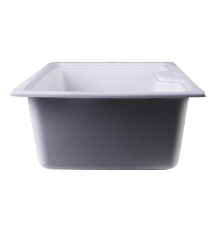 "ALFI Brand AB3520DI-W White 35"" Drop-In Single Bowl"