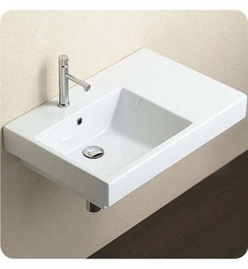 Catalano 17SZE00-2 Zero Domino 75 Single Washbasin Left Hand Sink With Faucet Holes: Two Holes