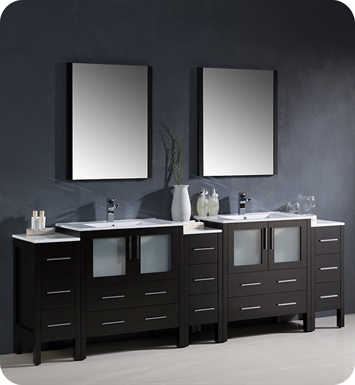 "Fresca FVN62-96ES-UNS Torino 96"" Double Sink Modern Bathroom Vanity with 3 Side Cabinets and Integrated Sinks in Espresso"