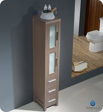 fresca fst6260go torino tall bathroom linen side cabinet in gray oak
