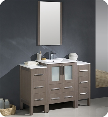 "Fresca FVN62-122412GO-UNS Torino 48"" Gray Oak Modern Bathroom Vanity with 2 Side Cabinets and Integrated Sink"