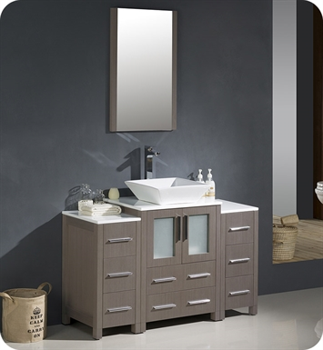 "Fresca FVN62-122412GO-VSL Torino 48"" Modern Bathroom Vanity with 2 Side Cabinets and Vessel Sink in Gray Oak"