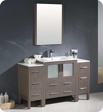 "Fresca FVN62-123012GO-UNS Torino 54"" Modern Bathroom Vanity with 2 Side Cabinets and Integrated Sink in Gray Oak"