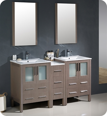 "Fresca FVN62-241224GO-UNS Torino 60"" Double Sink Modern Bathroom Vanity with Side Cabinet and Integrated Sinks in Gray Oak"