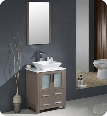 "Fresca FVN6224GO-VSL Torino 24"" Modern Bathroom Vanity with Vessel Sink in Gray Oak"