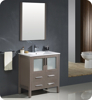 "Fresca FVN6230GO-UNS Torino 30"" Modern Bathroom Vanity with Integrated Sink in Gray Oak"