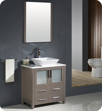 "Fresca FVN6230GO-VSL Torino 30"" Modern Bathroom Vanity with Vessel Sink in Gray Oak"
