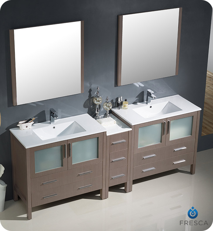 Fresca Fvn62 361236go Uns Torino 84 Double Sink Modern Bathroom Vanity With Side Cabinet And