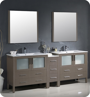 "Fresca FVN62-361236GO-UNS Torino 84"" Double Sink Modern Bathroom Vanity with Side Cabinet and Integrated Sinks in Gray Oak"
