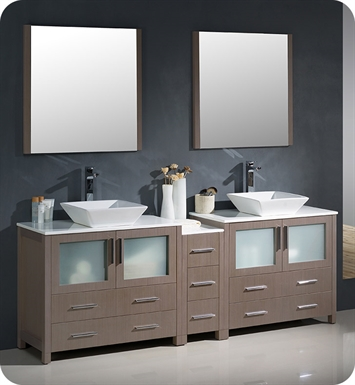 "Fresca FVN62-361236GO-VSL Torino 84"" Double Sink Modern Bathroom Vanity with Side Cabinet and Vessel Sinks in Gray Oak"