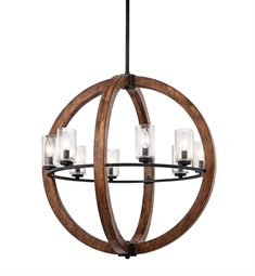 Kichler Grand Bank Collection Chandelier 8 Light in Auburn Stained Finish