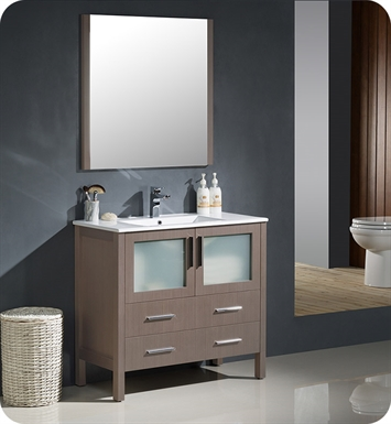 "Fresca FVN6236GO-UNS Torino 36"" Modern Bathroom Vanity with Integrated Sink in Gray Oak"
