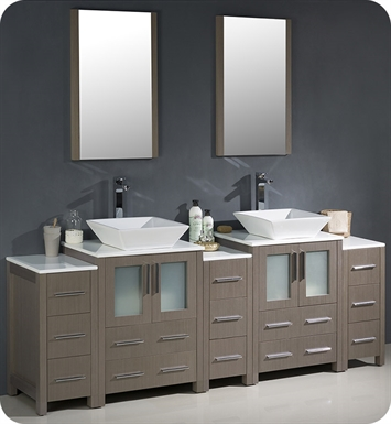 Fresca Fvn62 72go Vsl Torino 84 Double Sink Modern Bathroom Vanity With 3 Side Cabinets And